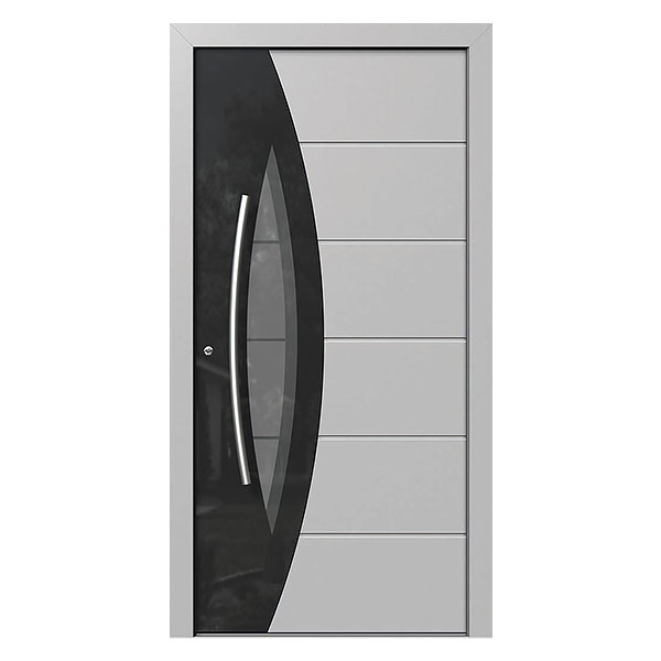 Contemporary Style Entry Door with Security Features